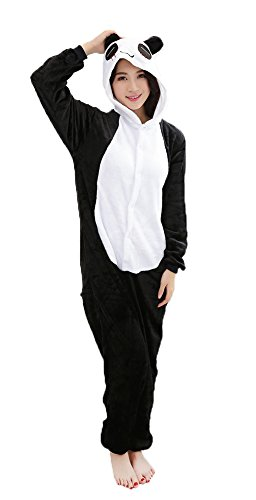 Panda Cosplay Pajamas Adult Unisex Onesies Animal Sleepwear Halloween Costume (L (Height 170-180 cm))