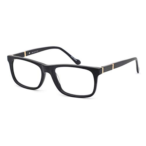 OCCI CHIARI Men Blue Light Block Stylish Eyewear Frame With Non-Prescription Clear Lens (A-Black,54)
