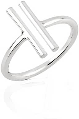 925 Sterling Silver Two (2) Vertical Minimalist Bar Statement Ring 15.5mm, Sizes 6-8