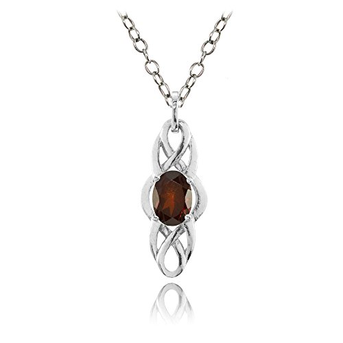 Sterling Silver Garnet Celtic Knot Oval Drop (Silver Oval Drop Pendant)