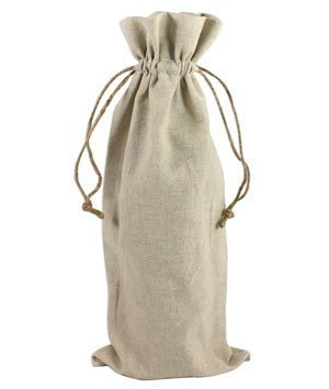 Natural Linen Wine Bags With Drawstrings - 12 Pack
