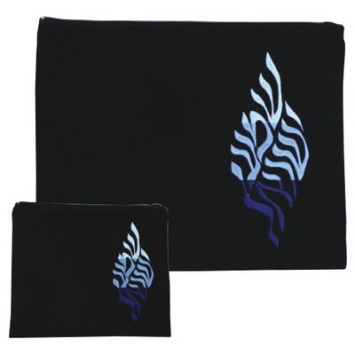 Embroidered Velvet Tallit and Tefilin 2 Bag Set Shema Yisrael (Dark Blue)