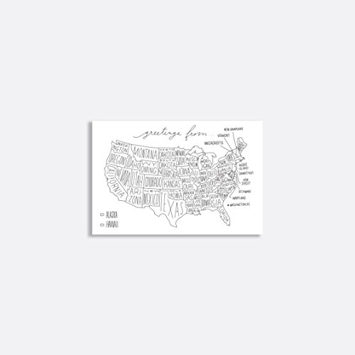 """Easy, Tiger Postcard Packs (set of 5), """"Greetings From"""" US Map (fill in the state)"""