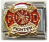 Clearly Charming Firefighter Seal Italian Charm Bracelet Link