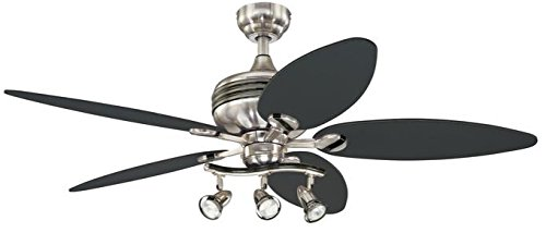 Westinghouse Lighting 7234220 Xavier II 52-Inch Five-Blade Indoor Ceiling Fan with Three Spot Lights, Brushed Nickel with Gun Metal Accents Black 5 Blade Ceiling Fan