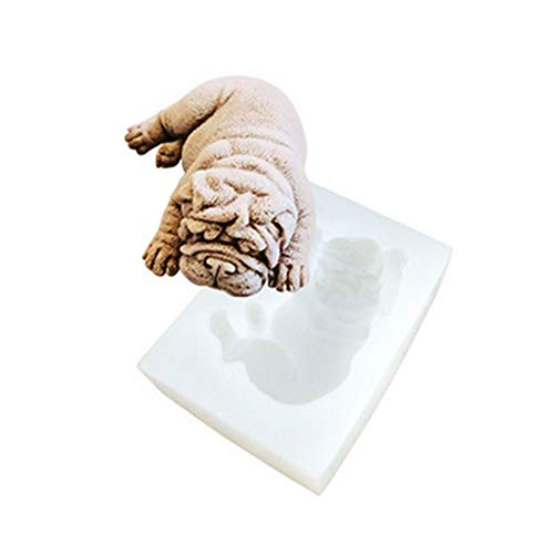 Youzpin Different Modelling 3D Shar Pei Dog Shape Silicone Mold,Chocolate,Pudding, Fondant,Mousse Cake Decoration Baking Mould,Handwork Soap,Candle,Clay DIY Making Tool,Random Color by Youzpin