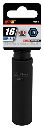 Performance Tool M866 1/2 Dr 16mm DW Impact Socket, 1 Pack