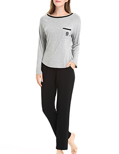 Women's Comfort Two-Piece Long Sleeves Sleepwear Pajama Set by NORA TWIPS(XS-XL)