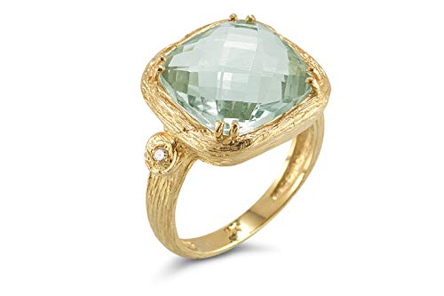 I REISS 14K Yellow Gold 6.79ct TGW Green Amethyst and Diamond Ring