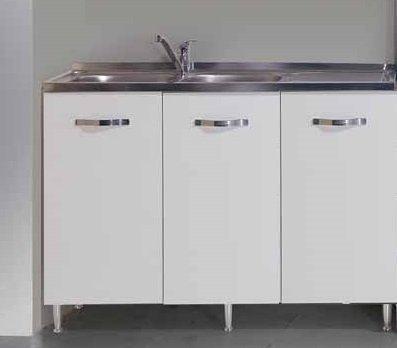 Sottolavello colore bianco per lavello inox Cm 120x50xH 85 con 3 ante azurline