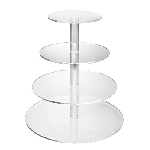 Flexzion 4 Tier Cupcake Stand Holder Tower - Wedding Birthday Party Plastic Cupcake Display Tree for Baby Family Afternoon Dessert - Tiered Acrylic Glass Cake Carrier w/Top Tier (4 Tier Clear, Round)]()