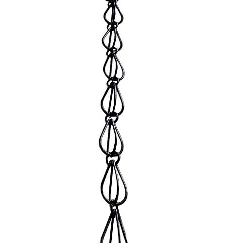 Chain Link Drop - Monarch Aluminum Teardrop Rain Chain, 8-1/2-Feet Length (Flat Black Powder Coated)