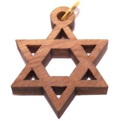 "Price comparison product image Star of David Olive wood Laser Pendant (8cm or 3.15"" long )"