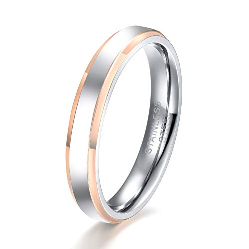 SHINYSO 4MM Stainless Steel Rings Two-Tone Polished Beveled Edge Plated Blue/Black/Rose Gold Wedding Band for - Wedding Sets Band Gold Two Tone