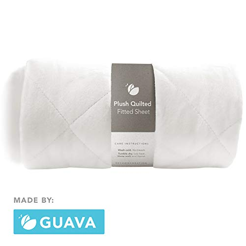 GUAVA FAMILY - Lotus Crib Plush Quilted Fitted Sheet | Designed for Perfect, Manufacturer-Approved Fit, Soft & Safe for 1 Yr & Older, Unisex, Boys & Girls - Fits BOTH Velcro & Buckle Versions (White)