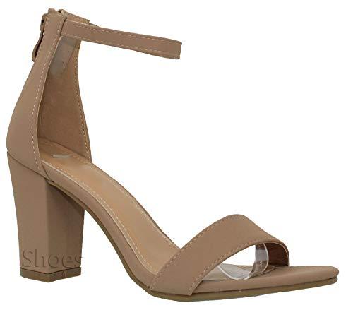 (MVE Shoes Women's Sandal - Chunky Block Heel Ankle Strap -Open Toe Summer Dress Shoe, tan Size 8.5 )