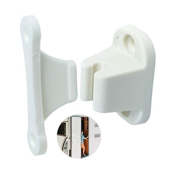 31ZnaQS1h2L Türfeststeller für Wohnwagen und Wohnmobil, 1 Pack, zum Anschrauben, mit 35 mm + 48 mm Lochabstand, in weiß, aus…