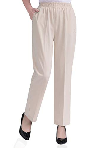 Soojun Womens Stretch Knit Pants Pull On Pants with Elastic Waist, 2 Light Khaki, 8 Petite