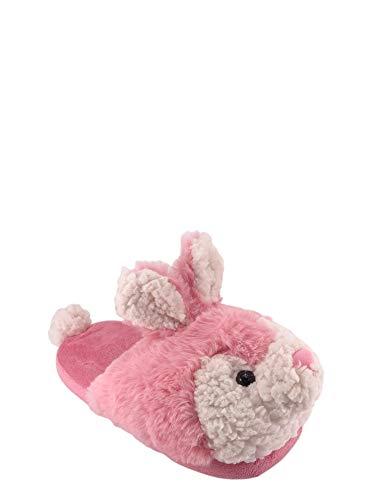 Wonder Nation Bunny Slippers for Girls Pink Kids Fluffy Soft House Slipper (11-12 M)