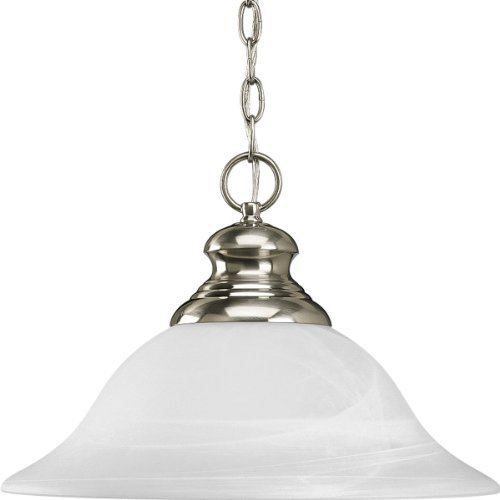 Progress Lighting P5090-09 1-Light Pendant with Etched Alabaster Style Glass, Brushed Nickel by Progress Lighting