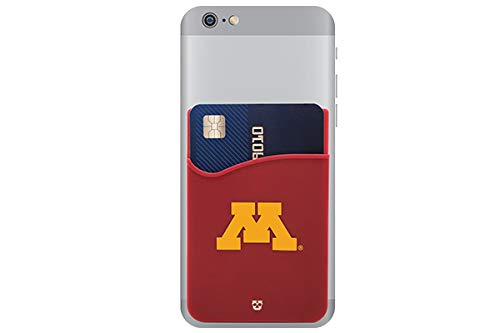 Minnesota Golden Gophers Adhesive Silicone Cell Phone Wallet/Card Holder for iPhone, Android, Samsung Galaxy, Most Smartphones