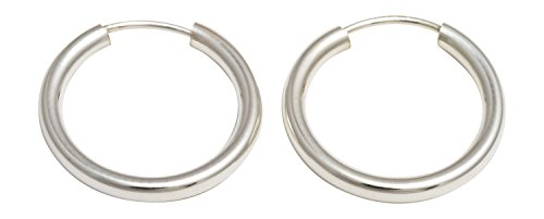 Sterling Silver Continuous Endless Hoop Earrings, (2mm Tube) (15mm)