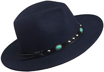 Ashy drongo Women Panama Hat Vintage Fedora Hat Jazz Cap Medium Brim Adjustable with Leather Belt