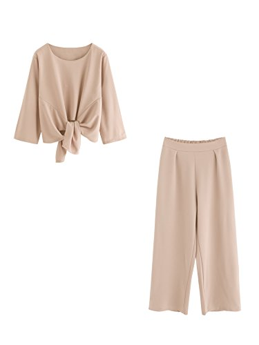 MakeMeChic Women's Knot Front Crop Top Wide Leg Pants Two Piece Outfits Apricot M