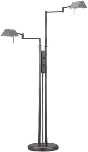 Lite Source LS-974BLK Floor Lamp with Black Metal Shades, 55