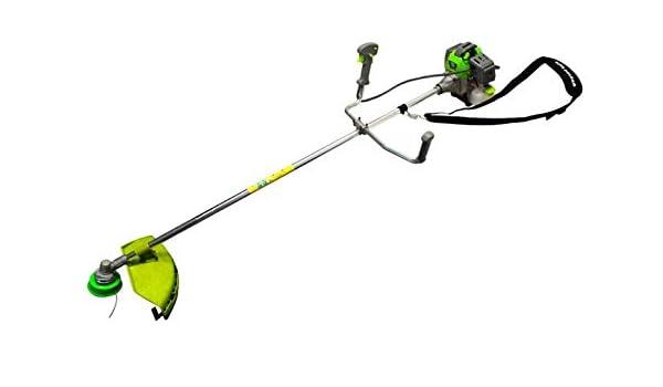 Desbrozadora de gasolina con motor de 2 tiempos de baja vibración, solo 9 kg de peso, incluye máscara de protección.: Amazon.es: Bricolaje y herramientas