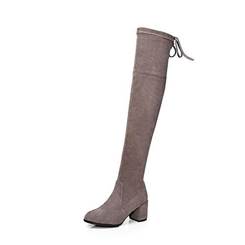 ZHZNVX Damenschuhe Damenschuhe Damenschuhe Wildleder Herbst & Winter Komfort Stiefel Chunky Heel Schwarz Kaffee f813a6
