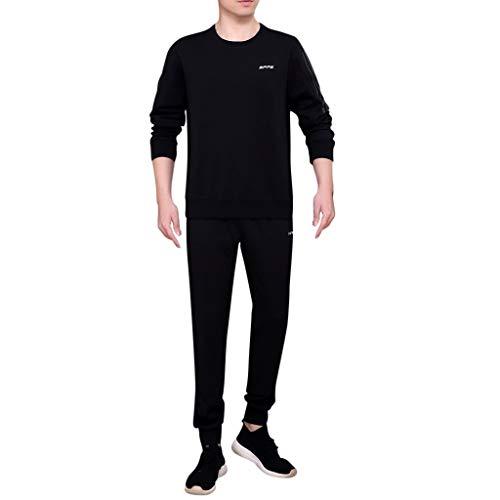 New Sportwear Men's Autumn Suit Pure Color Comfortable Long-Sleeved Trousers Suit Black