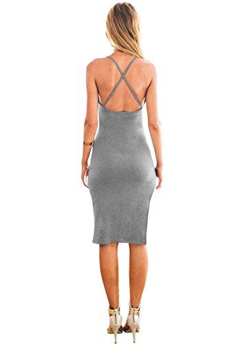 Lookbook Store donna Grigio Cinghie laterali a fessura criscross Canottiera Bodycon Midi Dress