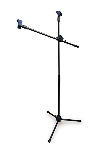 Black Tripod Boom Microphone Stand - Convenient, Portable, and Adjustable Mic - Mike Stand