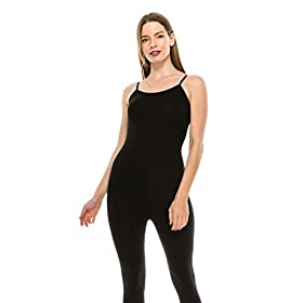 Womens Spaghetti Strap Catsuit Bodycon One Piece Jumpsuit Playsuit 31ZnjoZNT9L
