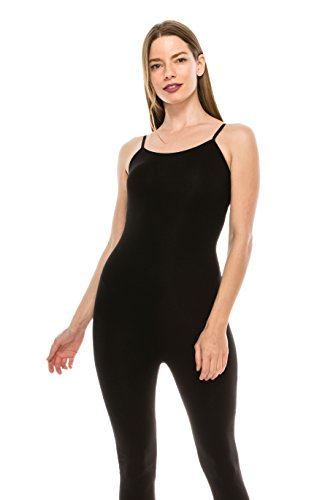 The Classic Womens Spaghetti Strap Catsuit Bodycon One Piece Jumpsuit Playsuit in Black - Large