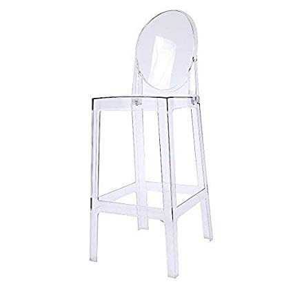 Astonishing 2Xhome 30 Seat Height Ghost Chair Bar Stool With Oval Back In Transparent Crystal Machost Co Dining Chair Design Ideas Machostcouk
