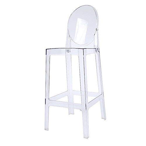 "2xhome 30"" Seat Height Ghost Chair Bar Stool with Oval Back in Transparent Crystal"