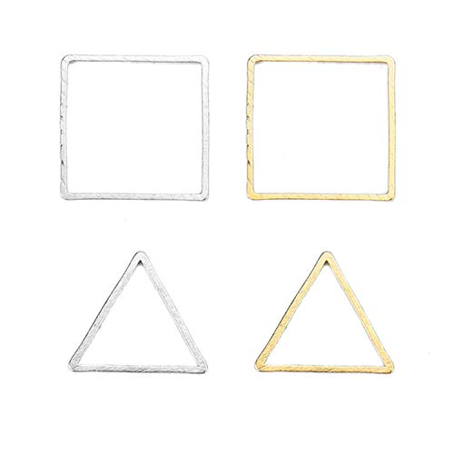 Monrocco 100Pcs 2 Style Triangles and Square Alloy Pendant Connector DIY Necklace Bracelet Charms for Jewelry Making and Crafting