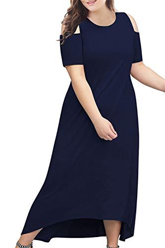 Nemidor Women\'s Cold Shoulder Plus Size Casual High-Low Hem Maxi ...