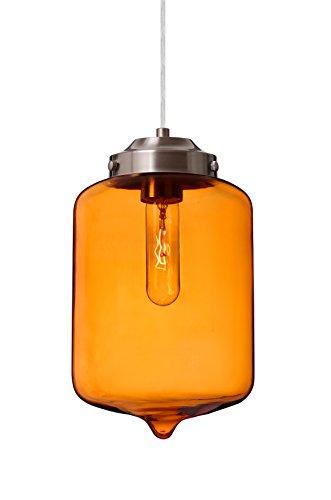 Besa Lighting 1JT-OLINAM-SN Besa Olin Cord Pendant with Amber glass Besa Olin Cord Pendant Collection
