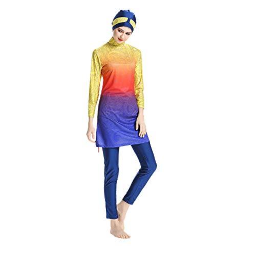 Emerayo Women's Muslim Swimwear Modest Islamic Hijab Swimsuit Gradient Ramp Full Body Modest Islamic Modesty Burkini Yellow
