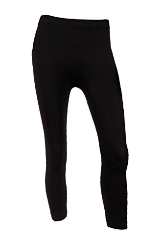 Sofra Women's Capri Calf Length Color Leggings-Black