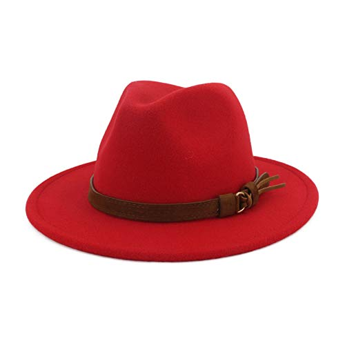 Red Hat Fashion - Lisianthus Men & Women Vintage Wide Brim Fedora Hat with Belt Buckle Red 59-60cm