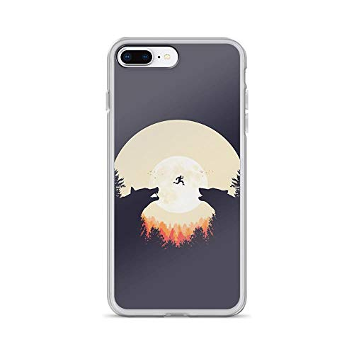 iPhone 7 Plus/8 Plus Pure Clear Case Cases Cover Full Moon and Wolf Silhouette Illustration Drawing]()