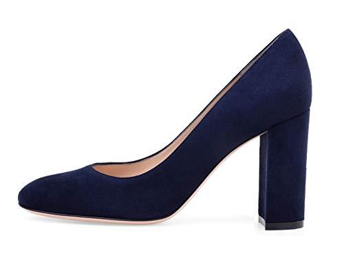 - Sammitop Women's Round Toe Block Heel Pumps Slip-on Classic Suede Dress Shoes Navy Blue US9.5
