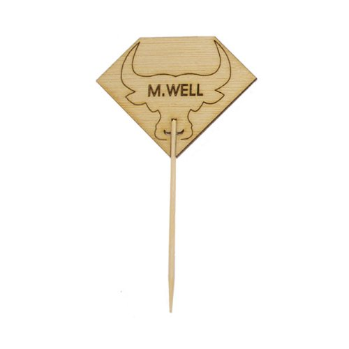 PackNWood 209BBRUMPYMW Diamond Shaped Steak Markers with Bull Head - Medium Well - H : 3.7'' - W : 2.1'' - 1000 per case by PacknWood
