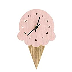 The Bridge Collection Novelty Wooden Wall Clock (Ice Cream Cone)