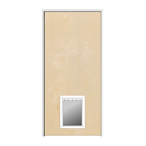 National Door Company ZA364433R Solid Core Flush Birch, Right Hand, Prehung Interior Door with Pet Door, 32