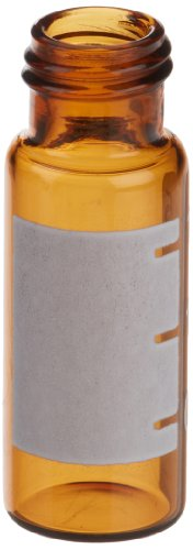 JG Finneran R.A.M. 32009E-1232A Borosilicate Glass Large Opening Vial, 2.0mL Capacity, White Graduation Spot, 12mm Diameter, 32mm Height, 9mm Neck, Amber (Case of 1000) by JG Finneran